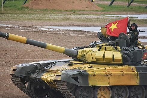 Đội Việt Nam nhất bảng trong ngày thứ hai đua xe tăng tại Nga