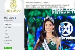 Hoa hậu Lương Thùy Linh được khen ngợi trên trang Miss World