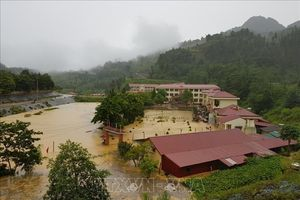 Trường trung học cơ sở xã Si Ma Cai chìm trong nước