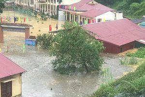 Ngôi trường ngập trong biển nước sau trận mưa lớn ở Lào Cai