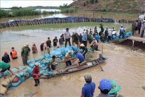 Lực lượng vũ trang cùng người dân hộ đê cứu lúa