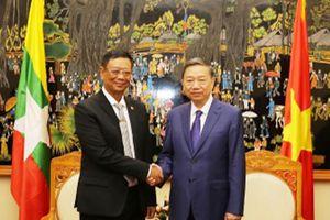 Bộ trưởng Bộ Công an Tô Lâm tiếp xã giao Thứ trưởng Bộ Nội vụ Myanmar