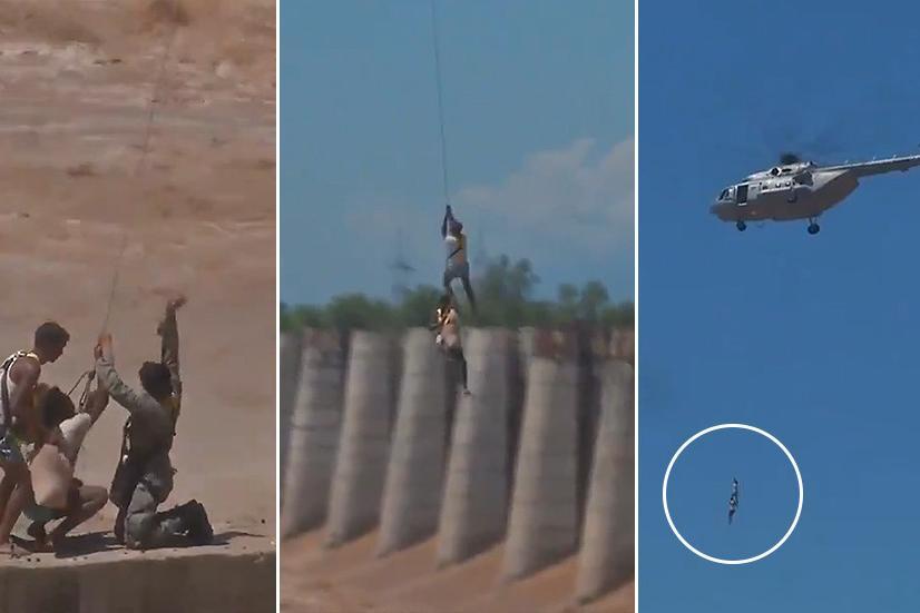 Thót tim xem trực thăng quân sự Ấn Độ giải cứu người mắc kẹt trong lũ dữ