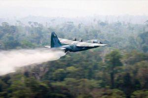 Siêu vận C-130 Hercules phun nước dập cháy rừng Amazon
