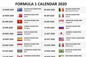 Chặng đua F1 2020 tại VN đã chốt ngày 5/4, có 55 vòng đua