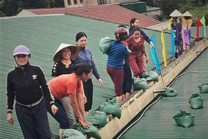 Nữ giáo viên mầm non ôm cát gia cố mái nhà chống bão số 4 ở Hà Tĩnh