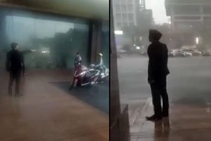 Nhân viên tòa nhà đuổi không cho hai mẹ con trú mưa trong lúc trời giông tố