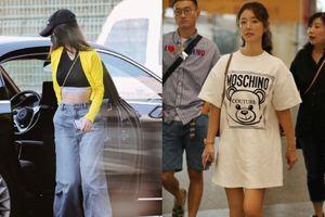 Cùng xuất hiện tại sân bay, Angelababy khoe eo con kiến, Lâm Tâm Như thì giấu quần gợi cảm