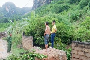 Kinh hãi tảng đá nặng cả tấn rơi từ núi xuống vườn nhà dân