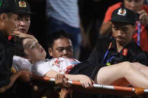 Thông tin về sức khỏe nữ phóng viên bị bắn pháo sáng ở sân Hàng Đẫy