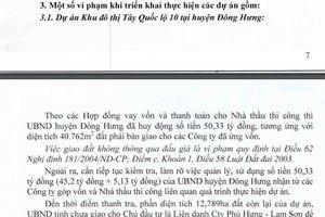 Công bố nhiều sai phạm của Chủ tịch tỉnh và các cơ quan chức năng ở Thái Bình