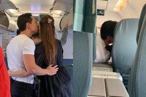 Lộ ảnh Kim Lý và Hồ Ngọc Hà ôm hôn tình tứ trên máy bay đông người