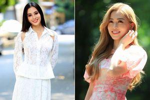 Hoa hậu Tiểu Vy, Á hậu Phương Nga đọ sắc xinh đẹp dưới nắng thu Hà Nội