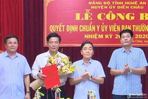 Công bố quyết định của Tỉnh ủy về công tác cán bộ huyện Diễn Châu