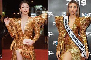 Kém 12cm chiều cao, Nhật Kim Anh cũng chẳng kém đẹp so với Siêu mẫu quốc tế Khả Trang khi cùng diện đầm lộng lẫy