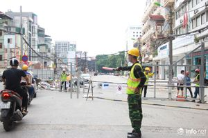 Hà Nội cấm đường để thi công hạ ngầm tuyến đường sắt Nhổn - ga Hà Nội