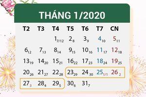 Chốt phương án nghỉ Tết Nguyên đán Canh Tý 2020