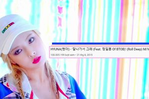MV 'Roll Deep' đạt 100 triệu view, HyunA trở thành nữ nghệ sĩ solo KPop đầu tiên sở hữu thành tích mới