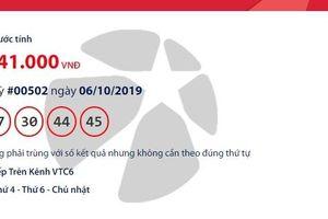 Kết quả xổ số Vietlott Mega 6/45 ngày 9/10/2019 mới và chính xác nhất