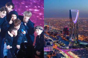 Nhiều tòa nhà ở Ả-rập Xê-út bật đèn tím chào đón BTS sang biểu diễn