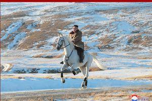 Kim Jong-un cưỡi ngựa lên núi thiêng