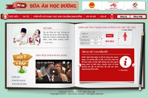 Phần mềm chuẩn hóa thực đơn bữa ăn bán trú tiểu học tỉnh Yên Bái
