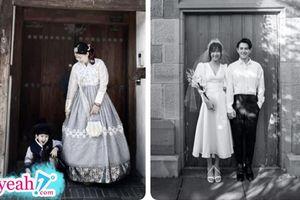 Ngọc Lan cùng con trai 'cosplay' ảnh cưới của Đông Nhi và Ông Cao Thắng đầy hài hước