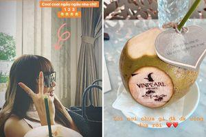 Vừa đặt chân đến Phú Quốc, chưa vội check in nhận phòng, dàn khách mời đi 'siêu đám cưới' lại bình tĩnh ngồi uống... nước dừa