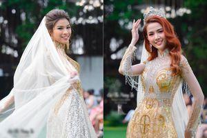 Nguyễn Thị Thành, Phan Thị Mơ diện áo dài lấp lánh, làm cô dâu yêu kiều trên sàn runway