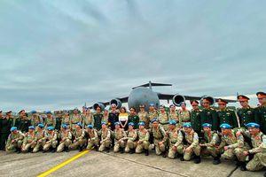 Máy bay C-17A Globemaster III đón quân nhân và thiết bị của Bệnh viện Dã chiến cấp 2 số 2 sang Nam Sudan