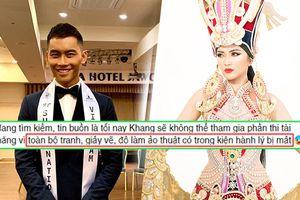 Mạnh Khang bỏ thi Tài năng vì mất hành lý, 'lạc trôi' luôn National Costume của Ngọc Châu