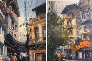 Trà chanh, xe máy Hà Nội sống động trong tranh họa sĩ Nga