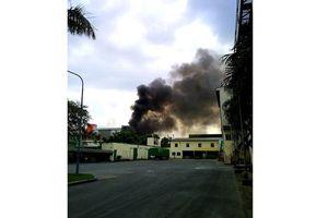 Cháy lớn ở công ty sản xuất bánh kẹo trong Khu công nghiệp Sóng Thần