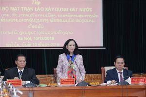 Đồng chí Trương Thị Mai tiếp Đoàn Trung ương Mặt trận Lào xây dựng đất nước