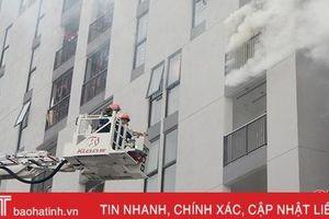 Diễn tập chữa cháy ở chung cư nhà ở xã hội Hà Tĩnh