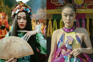 Hoàng Thùy Linh đi giày hoa cúc G-Dragon, quấn 8 khăn Hermès lên đầu