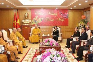Trưởng ban Dân vận Trung ương Trương Thị Mai tiếp Đoàn Trung ương Giáo hội Phật giáo Việt Nam