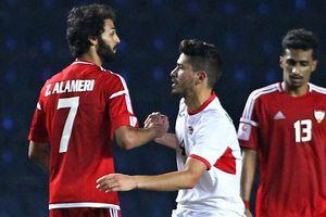 Cầu thủ U23 Jordan và UAE tươi cười sau trận hòa 1-1