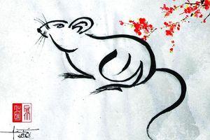 Họa tự về chuột mừng năm Canh Tý