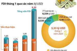 Thu hút FDI đạt 5,33 tỷ USD trong tháng 1