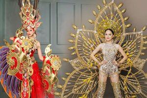 Hoa hậu Việt toát mồ hôi khi diễn trang phục dân tộc nặng ký, riêng Hương Giang vác tận 55 kg nhưng không hề đuối sức