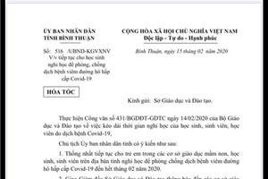 Học sinh tỉnh Bình Thuận tiếp tục nghỉ học đến hết tháng 2