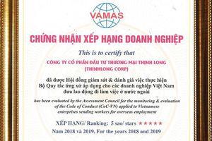 Công ty Thịnh Long được vinh danh xếp hạng doanh nghiệp XKLĐ 5 sao năm 2018-2019