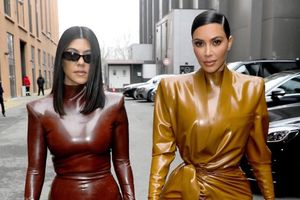 Chị em Kim Kardashian diện đồ latex bóng loáng ôm sát đường cong đẫy đà gây hoa mắt