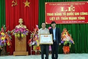 Thanh Hóa: Trao bằng Tổ quốc ghi công cho Phó trưởng Công an hy sinh khi làm nhiệm vụ