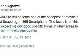 Redmi K30 Pro sẽ đi kèm Snapdragon 865