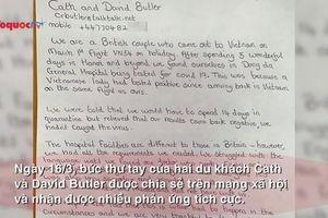 Bức thư cảm ơn bác sĩ gây sốt của cặp du khách người Anh