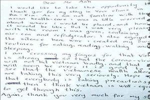 Lá thư tay cảm ơn điều dưỡng Bệnh viện Bà Rịa của du khách Na Uy