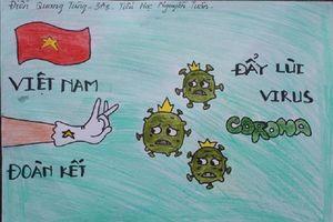 Tranh cổ động chống Covid-19 đầy màu sắc của 'họa sĩ nhí' tại Hà Nội