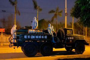Tối 8/4: Toàn bộ thôn Hạ Lôi, xã Mê Linh đang được phun khử khuẩn